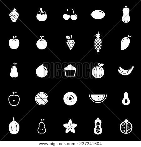Fruit Icons On Black Background, Stock Vector