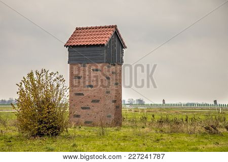 Eemshaven,netherlands - November 22, 2017: Bat House Tower For Protection And Housing Of Pipistrelle
