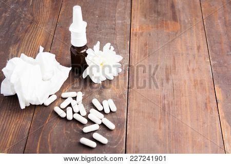 Medical Supplies - Spray For Nose; Pills, Seasonal Allergy Or Cold Concept