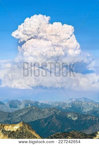 A Smoke Plume For A Devastating Forest Fire. North Cascades National Park, Washington