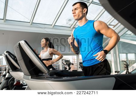 Waist Up Portrait Of Two Fit Young People, Man And Woman, Running On Treadmills In Modern Gym, Copy