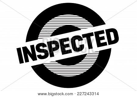 Inspected Typographic Stamp. Typographic Sign, Badge Or Logo