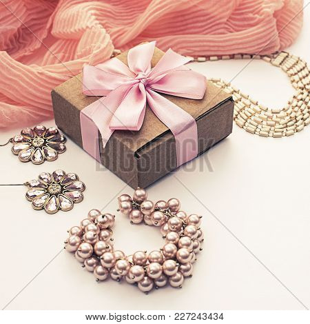 A Set Of Accessories For Women. Shopping Gifts Decoration