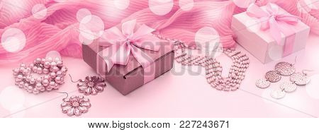 Banner A Set Of Accessories For Women. Shopping Gifts Decoration