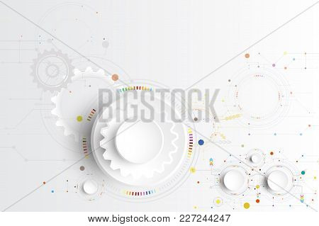Vector Illustration Hi-tech Digital Technology Design Colorful On Circuit Board And Gear Wheel Engin