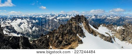 A Panoramic View From The Summit Of Silver Star Mountain. Washington Pass, North Cascades National P