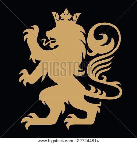 Golden Heraldic Lion With Crown Logo Design Vector Illustration