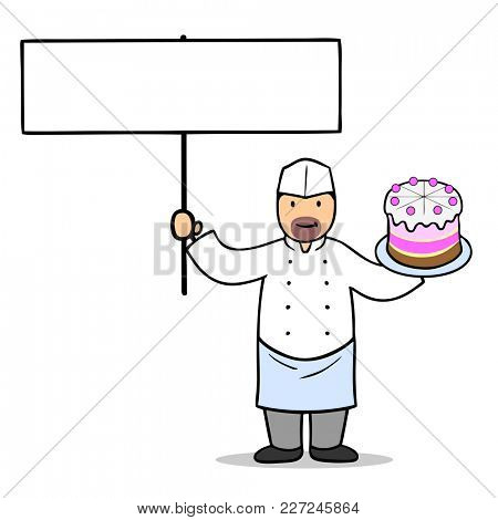 Cartoon pastry chef with cake and a blank sign in the hands