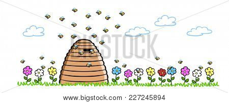 Bees beside natural hive on a meadow with flowers