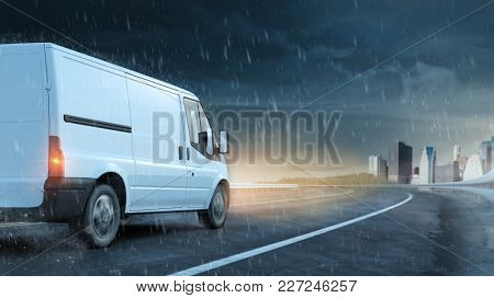 Delivery van drives on road in rain and wet road to the city (3D Rendering)