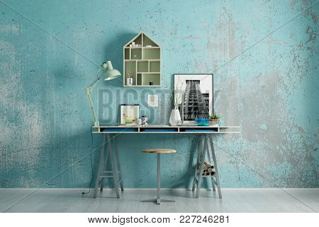 Tidy desk as a workspace at home office (3D Rendering)