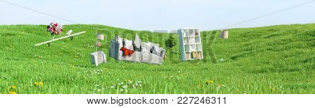 Sofa and other furniture float on a green meadow (3D Rendering)