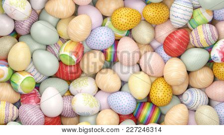 Many different brightly painted easter eggs for Easter (3D Rendering)