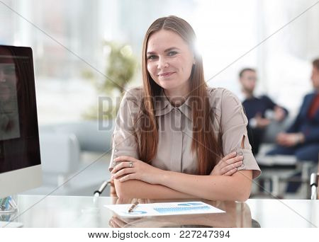 portrait of young business woman at the workplace
