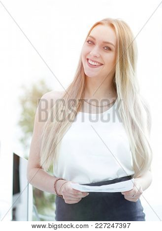 close-up portrait of an elegant young business woman.