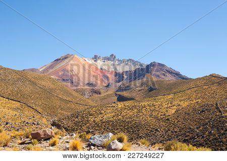 Tunupa Volcano From Chatahuana Viewpoint. Salar De Uyuni, Bolivia.bolivian Landscape