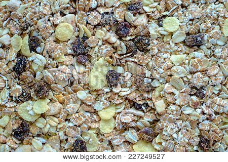 Granola Or Muesli - A Mixture Of Cereals, Dried Fruit, And Nuts For Healthy Eating And Breakfast Con