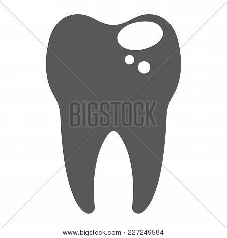 Sick Tooth Glyph Icon, Stomatology And Dental, Caries Sign Vector Graphics, A Solid Pattern On A Whi