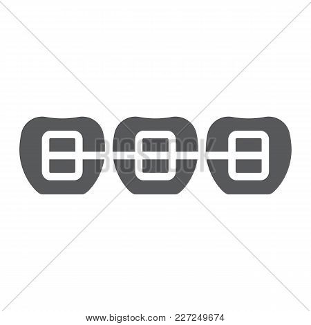 Tooth With Braces Glyph Icon, Stomatology And Dental, Orthodontic Sign Vector Graphics, A Solid Patt