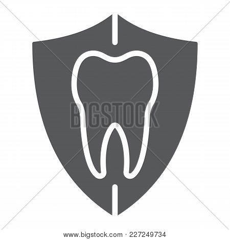 Dental Protection Glyph Icon, Stomatology And Dental, Tooth In Shield Sign Vector Graphics, A Solid