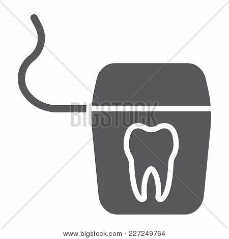 Dental Floss Glyph Icon, Stomatology And Dental, Clean Sign Vector Graphics, A Solid Pattern On A Wh