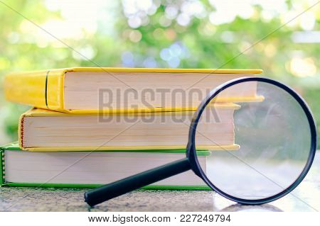 Stack Of Textbooks Zoomed By The Magnifying Glass On Blurred Natural Green Background For Learning A