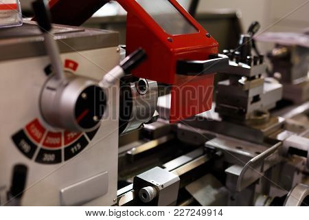Modern Metalworking Mechanical Lathe Machine With Manual Control. Selective Focus.