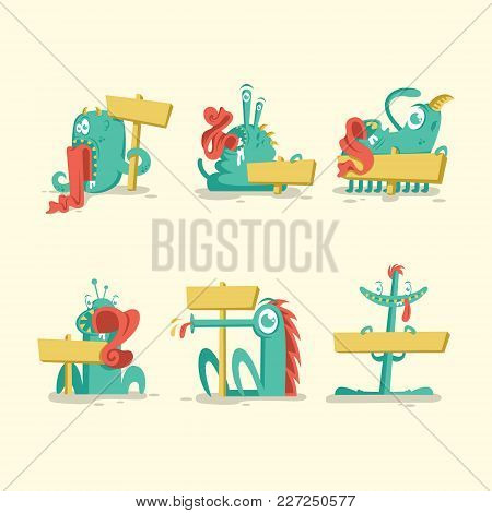 Monster Cartoon Sign System Vector With Eps File