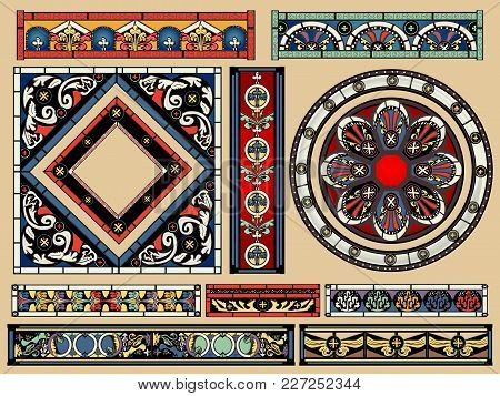 Stained Glass Antique Cathedral Windows Vector Illustration