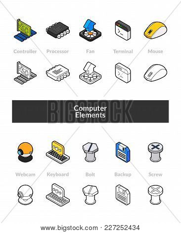 Set Of Isometric Icons In Otline Style, Colored And Black Versions, Vector Symbols - Computer Collec