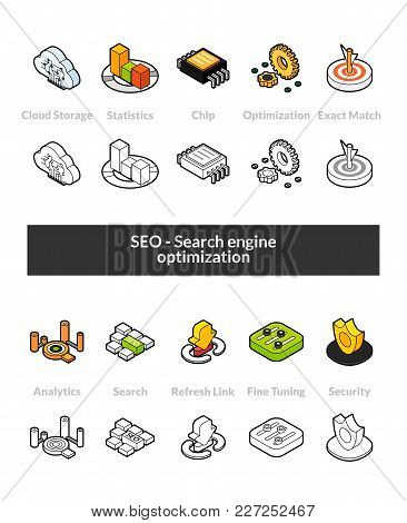 Set Of Isometric Icons In Otline Style, Colored And Black Versions, Vector Symbols - Search Engine O