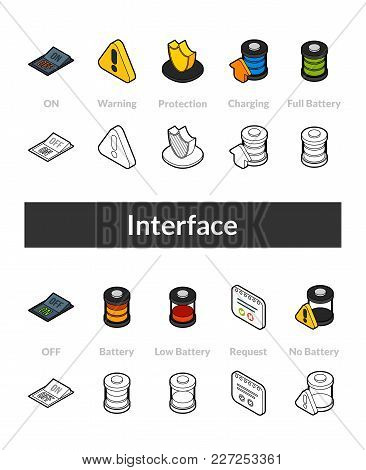 Set Of Isometric Icons In Otline Style, Colored And Black Versions, Vector Symbols - Interface Colle