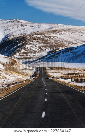 Open Empty Road With Beautiful Rodeside View At Countryside In Winter