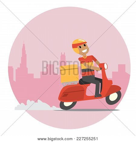 Delivery Man With His Scooter In Rush Hour. Simple Flat Vector Design.