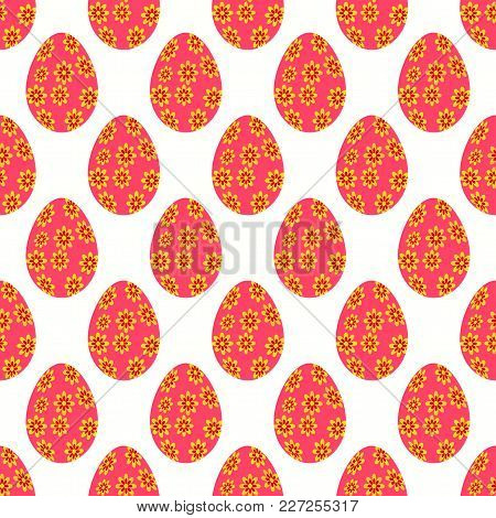 Seamless Pattern Of Floral Easter Eggs With Contrast Of Pink And Yellow Shades