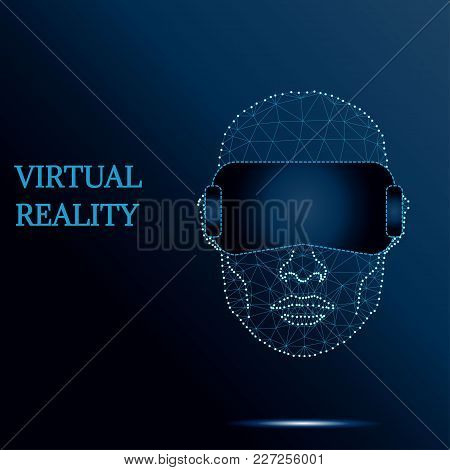 Polygonal Virtual Reality Helmet Glass Device. Future Video Internet Technology. Wireframe Polygon M