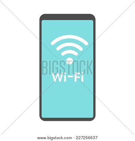 Phone Wifi Icon Vector Flat Illusration Eps10