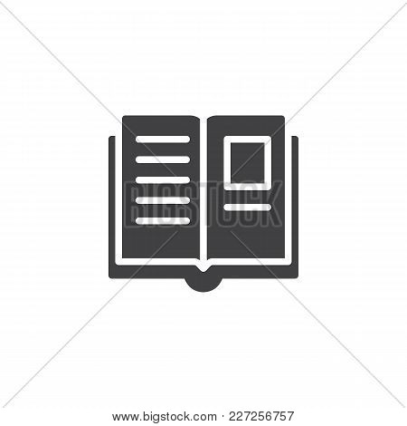 Open Book Pages Vector Icon. Filled Flat Sign For Mobile Concept And Web Design. Education Simple So