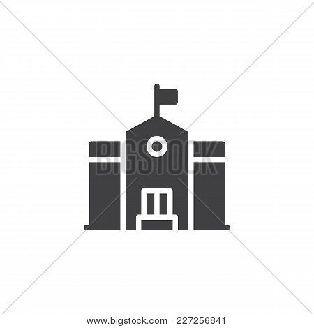 School Building Vector Icon. Filled Flat Sign For Mobile Concept And Web Design. Education Simple So