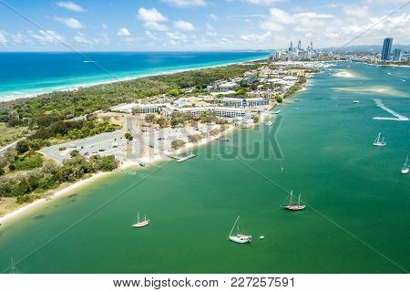 Aerial Photograph Of The Spit With The Buildings Of Surfers Paradise In The Distance. Gold Coast, Qu