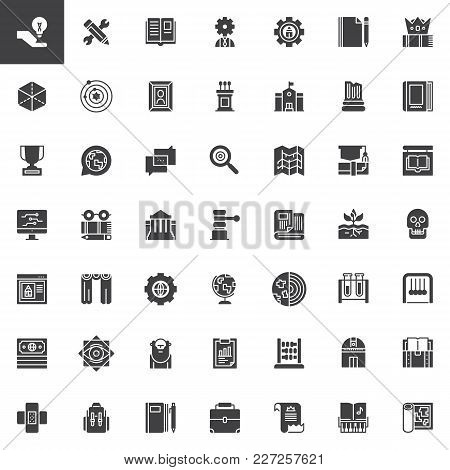 Knowledge Vector Icons Set, Modern Solid Symbol Collection, Filled Style Pictogram Pack. Education S