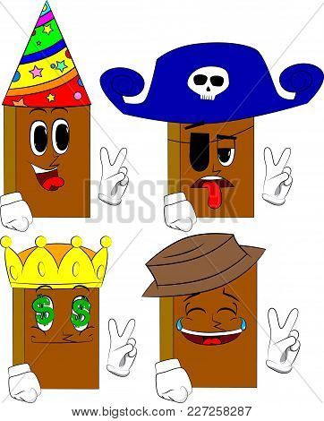 Books Showing The V Sign. Cartoon Book Collection With Costume Faces. Expressions Vector Set.