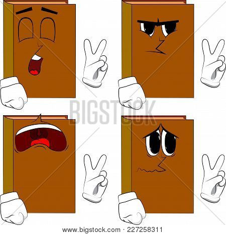 Books Showing The V Sign. Cartoon Book Collection With Sad Faces. Expressions Vector Set.