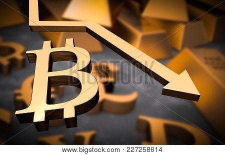 Golden Bitcoin Symbol And Golden Arrow Down - Bitcoin Money Fall Concept