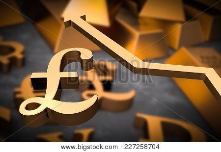 Golden Pound Symbol And Golden Arrow Up - Pound Money Rise Concept