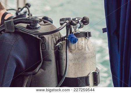 Diver Preparing To Dive Into The Sea.