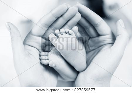 Close-up Tiny Baby Feet In Hands. Mother Care Of Newborn Baby. Little Tiny Kid Fingers.