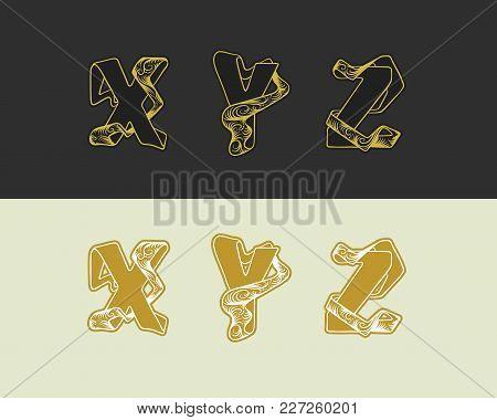 Vector Decorative Sketch Alphabet Set Of Uppercase Letters. Gold Elegant Letter X, Y, Z. Font Of Int