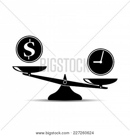 Time And Money Scales Icon. Money And Time Balance On Scale. Weights With Clock And Money Coin. Vect