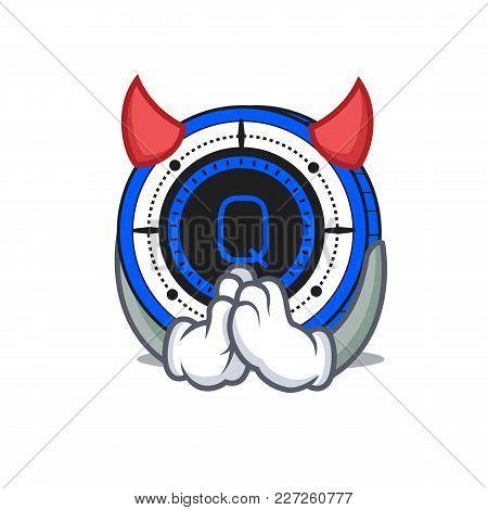 Devil Qash Coin Mascot Cartoon Vector Illustration